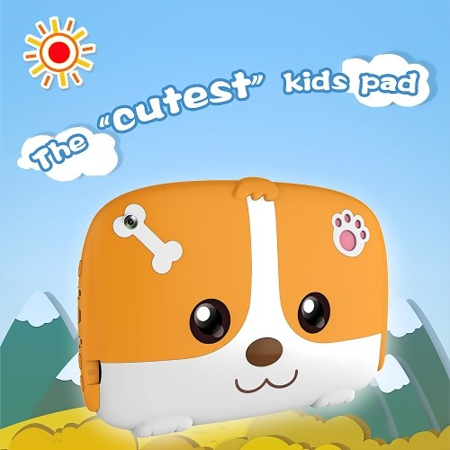 Q718 Quad Core 7inch Tablets PC Educational Computer 1024x600 HD Five-point Touch Screen for Children Kids Android 4.4 Orange EU Plug