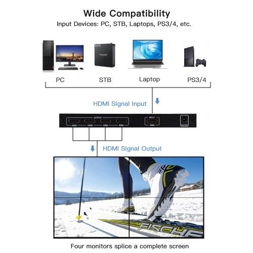 NK-BT14 4 Channel TV Video Wall Controller 2x2 1x3 1x2 1x4 4x1 3x1 2x1 HDMI DVI VGA USB Video Processor 1920*1080P 60Hz Wall TV Splicing Screen EU Plug фото