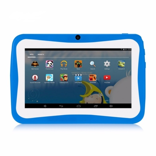 Q768 7 inch Kids Tablet Educational Learning Computer 1024*600 Resolution WiFi Connection with Silicone Case Blue EU Plug