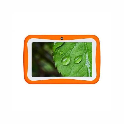 Q768 7-дюймовый детский планшет Обучающий обучающий компьютер Разрешение 1024 * 600 WiFi Соединение с силиконовым чехлом Оранжевый штекер ЕС