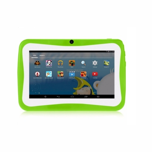 Q768 7 Zoll Kids Tablet Lerncomputer 1024 * 600 Auflösung WiFi-Verbindung mit Silikonhülle Grüner EU-Stecker