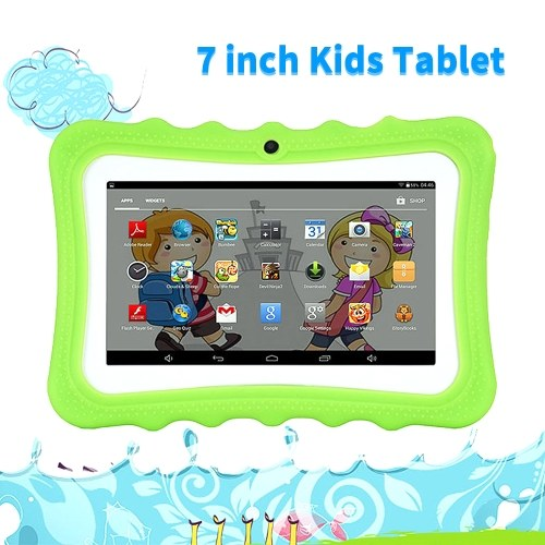 Q768 7-дюймовый детский планшет Обучающий обучающий компьютер Разрешение 1024 * 600 WiFi Соединение с силиконовым чехлом Розовый ЕС Plug фото