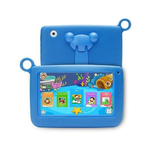Q718 7inch Quad Core Tablet for Children 1024*600 Pixels Android 4.4 System 512MB+8GB Memory with Silicone Case Blue EU Plug
