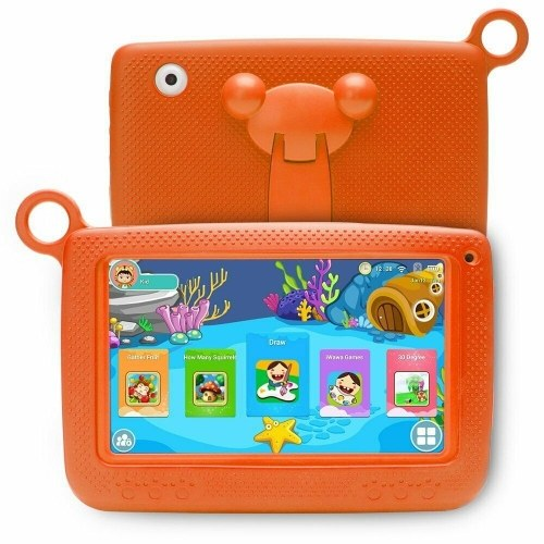 Q718 7inch Quad Core Tablet for Children 1024*600 Pixels Android 4.4 System 512MB+8GB Memory with Silicone Case Orange EU Plug