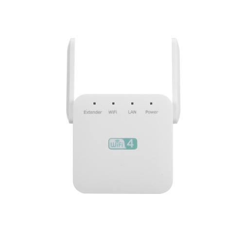 300Mbps Wireless Repeater WiFi Range Extender WiFi Signal Amplifier with Dual-antenna RJ45 Port White EU Plug