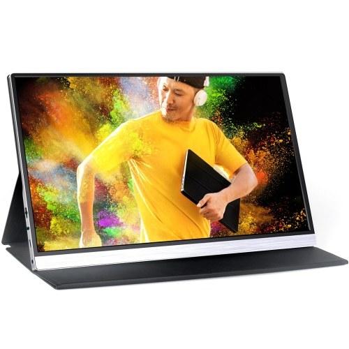 AOSIMAN Tragbarer 15,6-Zoll-Monitor 1080P LCD-Bildschirm mit großem Betrachtungswinkel HDR-Augenschutztechnik Gaming-Monitor-Display IPS-Panel-Unterstützung Live-Sreaming auf vertikalem Bildschirm mit Schutzabdeckung EU-Stecker