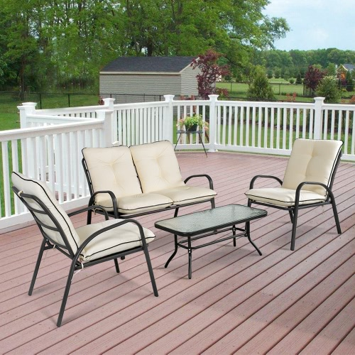 iKayaa Fashion 4 Pieces Cushioned Patio Garden Furniture Sofa Set