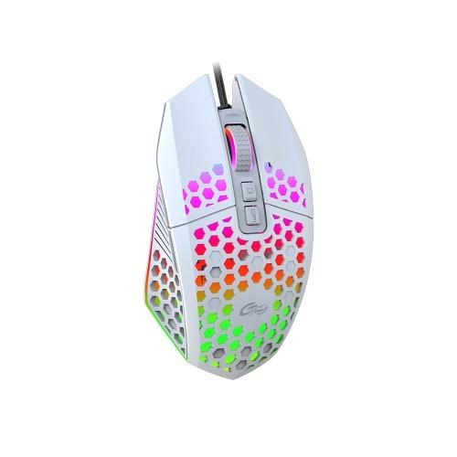 Mouse da gioco RGB cablato X801 con 7 pulsanti programmabili Pulsante back-to-desktop 6 livelli DPI regolabili 7 modalità di illuminazione Bianco