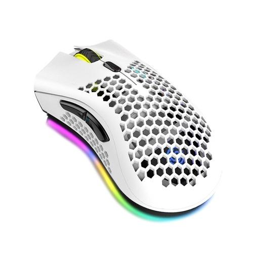 Mouse da gioco wireless 2.4G Mouse ricaricabile con effetto luce RGB 3 DPI regolabili Design a nido d'ape scavato bianco
