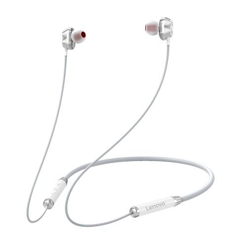 Lenovo HE08 Halsbehang Drahtloser BT-Kopfhörer In-Ear-Kopfhörer IPX5 Wasserdichter Sport-Ohrhörer mit geräuschunterdrückendem Mikrofon Weiß