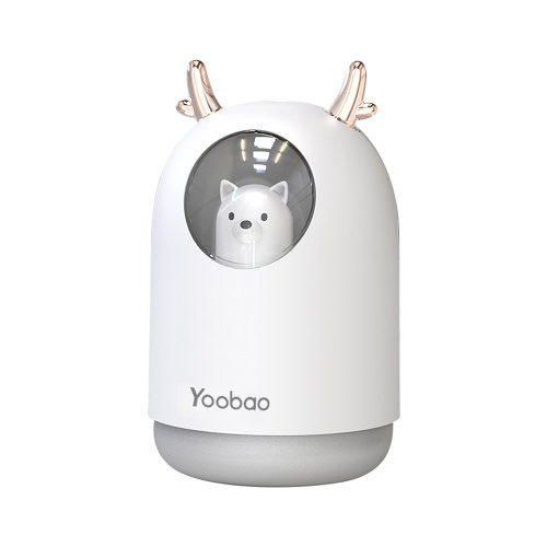 Yoobao USB Humidifier 300ml Mini Portable Humidifier Desktop Bedroom Mute Humidifier with 7-color breathing Light White