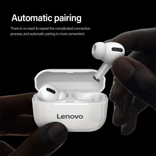 Lenovo LP1S TWS Drahtloser BT-Kopfhörer Echter kabelloser In-Ear-Sport-Ohrhörer IPX4 Wasserdichter Kopfhörer mit Ladekoffer Weiß