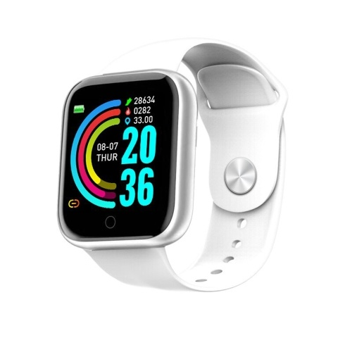 Y68 1.3-Inch HD Color Touchscreen Smart Bracelet Pedometer/Heart Rate/Blood Pressure/Notifications Reminder Smartwatch Silver&White