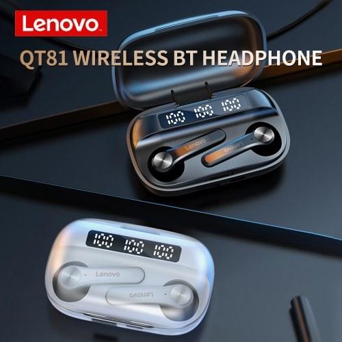 Lenovo QT81 TWS Drahtloser BT-Kopfhörer Semi-in-Ear-Sport-Ohrhörer Wasserdichter schweißfester Kopfhörer mit digitalem Bildschirm Weiß