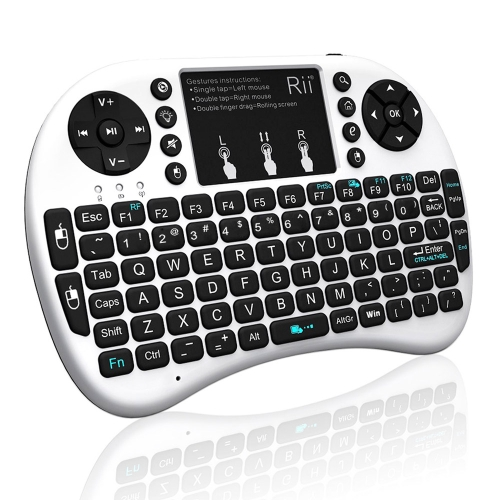 Rii i8+ 2.4G Mini Wireless Keyboard with Backlit Multi-touch US Layout Handheld for Andriod TV Box HTPC PC Pad (RT-MWK08+)