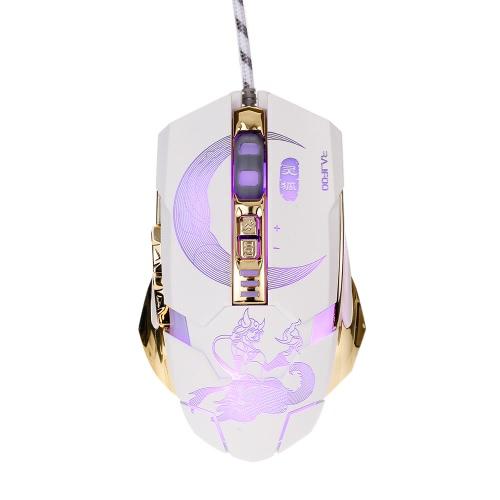 Rajfoo Smartfox Profesjonalne Optical Gaming Mouse Esport Makro Programowalny Myszy 7 Przyciski 3200dpi Regulowany Oddychanie LED Light USB Wired for Pro Gamers