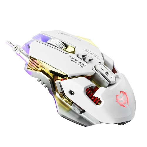 G560 Mechanical Macro Definition Competitive Gaming Mouse USB Wired Four  LED Lights 3200DPI 7 Keys Metal Add Weight Design with Driver Disk White