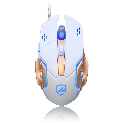 AJAZZ AJ-110 Gaming Laser Mouse USB Wired Mouse 4 níveis DPI ajustáveis 3200DPI com luz LED de respiração 6 botões para PC Desktop Laptop Black