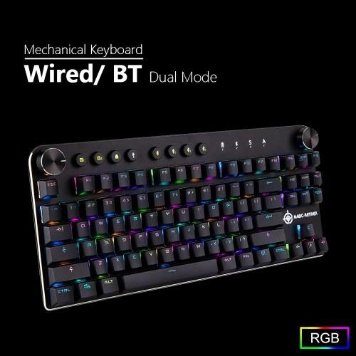 MAGIC-REFINER MK11 Механическая игровая клавиатура Проводной USB и беспроводной BT 3.0 RGB Подсветка Переключаемая 87 клавиш Игровая клавиатура для компьютерных геймеров фото