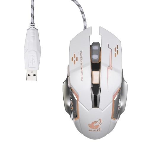 Ratón FPS profesional con ratón Wolf Wired Gaming gratis con luz silenciosa RGB de 4000 ppp