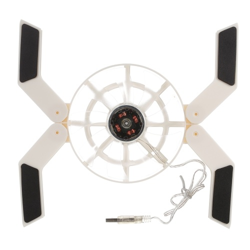 Multifunktionaler Laptop-Kühlständer Tragbarer klappbarer Lüfter USB-betriebener Kühler mit rutschfesten Pads Weiß
