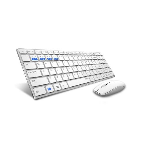 Rapoo 9300M Silent Multi-Mode Беспроводная клавиатура Мышь Набор Bluetooth 3.0 / 4.0 / 2.4G для Windows Портативный компьютер Настольный компьютер Белый