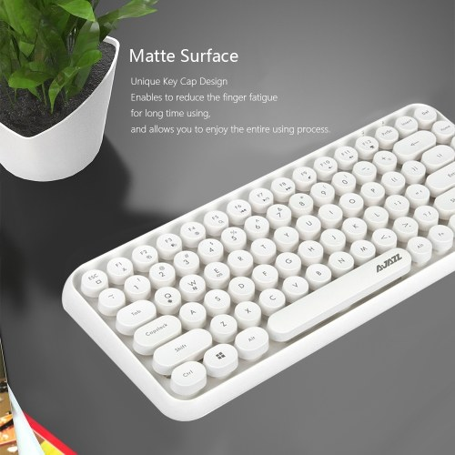 Ajazz 308i Bluetooth Keyboard Round Key Cap 10m Bluetooth Connection 84 Keys for Windows 2000, Windows XP, Windows ME, Windows VISTA, Windows 7/8/10 White фото