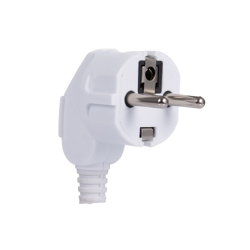 16A EU Removable Plug Round Pin German Standard Bent Plug for Russia  Korea Norway and Netherlands White