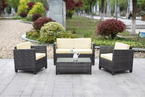 4PCS Wicker Cushioned Outdoor Patio Furniture Set