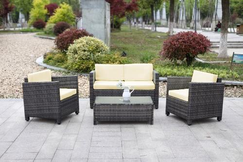 iKayaa 4PCS Rattan Wicker Ensemble de canapé d'extérieur pour patio gris