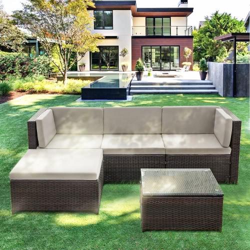 iKayaa 5PCS PE Rattan Wicker Patio Garden Furniture Sofa Set