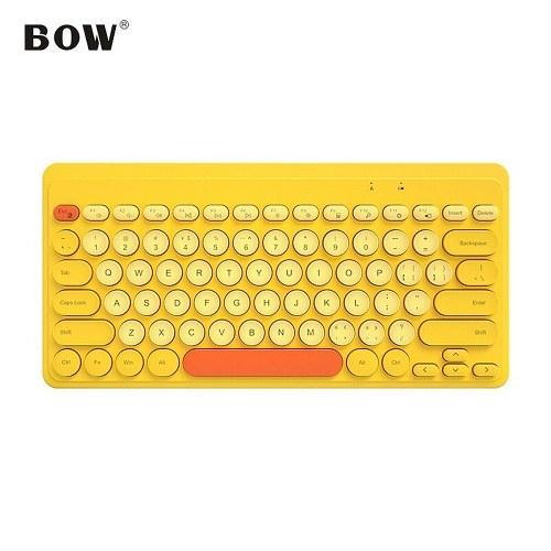 BOW K610 2.4G Wireless Keyboard 79 Key Round Keycaps Mini Portable Ergonomic Design Keyboard for Mac/Windows Yellow