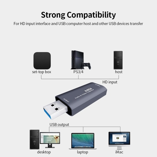 Z26 HD Audio & Video Capture 4K Input Full HD 1080P Output Capture USB 3.0 Phone/Computer Game Live Plug and Play Grey