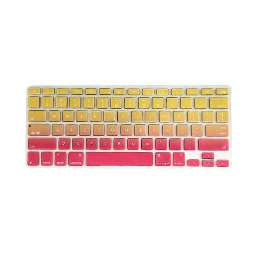Cover per tastiera in TPU Pellicola protettiva antipolvere per tastiera compatibile con Apple MacBook Air 13,3 pollici A1466 / A1369 Rosso e giallo