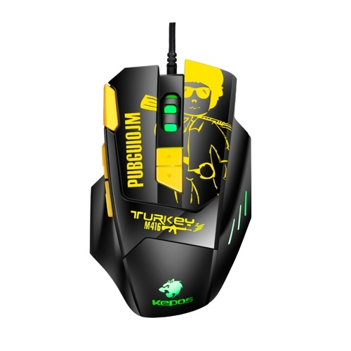 Wired Gaming Mouse Ergonomic Mouse 8 Programmable Buttons 800/1200/1600/2400/3600/4800DPI  6-color Breathing Light, Yellow
