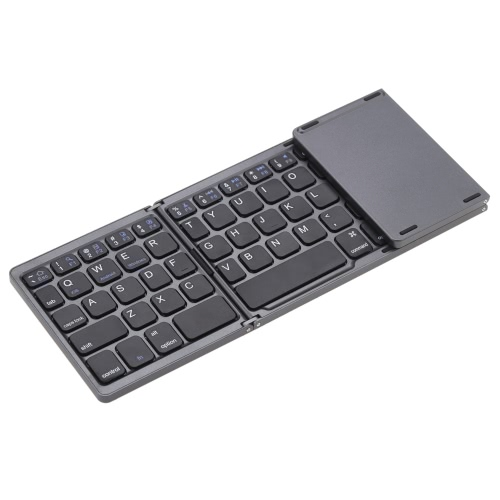 Teclado KKmoon portátil Mini Ultra Slim fina dobrável Folding BT sem fio com touchpad para iPhone 6s / iPad Pro / MacBook Mobile Phone Tablet PC