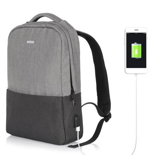 OSOCE Computer Backpack Laptop Notebook School Travel Bag com porta USB externa Waterproof Grey Dark