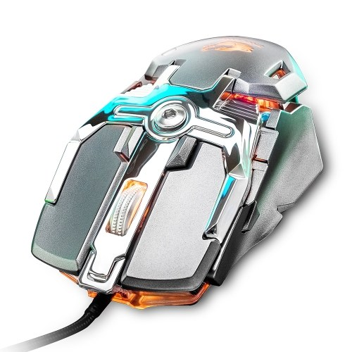 USB Wired Competitive Gaming Mouse Mechanical Game Mice Adjustable 6400DPI 8 Buttons LED Lighting Mouse V15 Grey