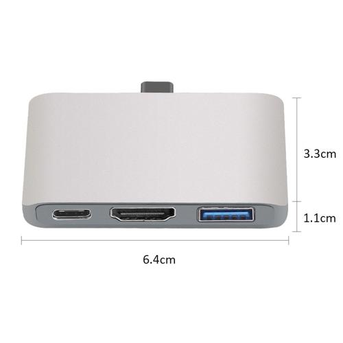 Адаптер ALF-TC301 Концентратор USB C Концентратор Тип-C-Тип + C + HD + преобразователь USB 3.0 3-в-1 Многопортовый разъем интерфейса 4K * 2K 1080P HD для Samsung S8 S9 Macbook Pro