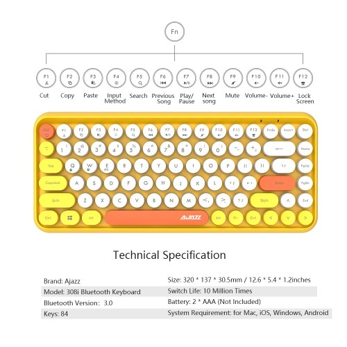Bluetooth-клавиатура Ajazz 308i с круглой крышкой, 10 м, подключение Bluetooth 84 клавиши для Windows 2000, Windows XP, Windows ME, Windows VISTA, Windows 7/8/10 Grey фото