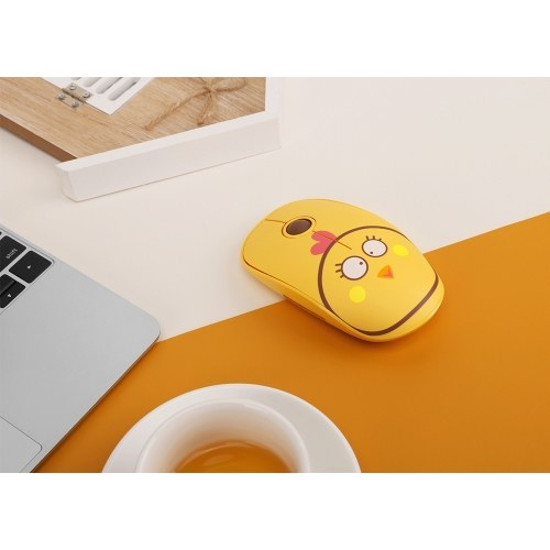 FD E680 2.4G Wireless Mouse Super Cute Cartoon Style ABS Silent Clicks Ergonomic Mute Mice With Mouse Mat Low Power Consumption Yellow