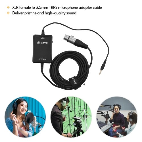 BOYA BY-BCA60 6M/20FT Ultra Long Microphone Cable XLR to 3.5mm TRRS Connector Supports Volume Gain Control 48V Phantom Power with 3.5mm Headphone Jack for Smartphone Tablet Laptop Camera