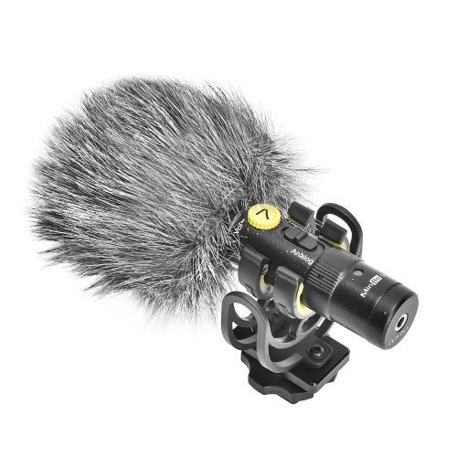 7RYMS MinBo M1 Mini Cardioid Condenser Microphone On-Camera Mic Digital & Analog Dual Modes Real-Time Monitoring for Camera Smartphone