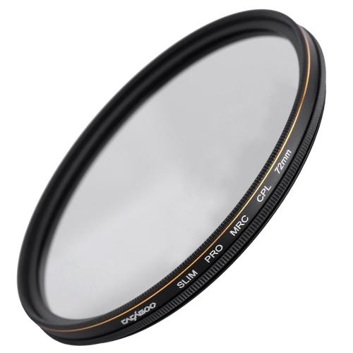 CACAGOO 72mm CPL Circular Polarizer Filter Photography Multi-coated Optical Glass Lens Filter for Canon Nikon Sony Pentax DSLR Camera