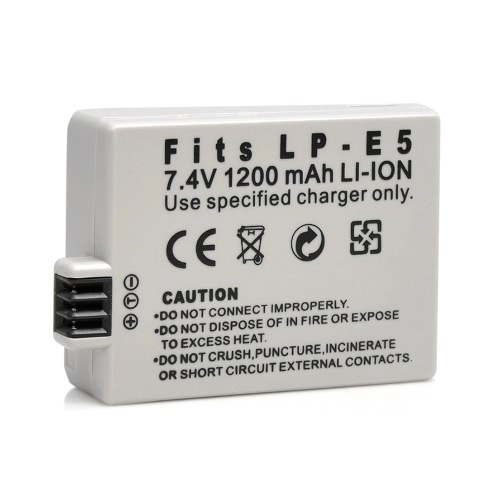 1200 mAh 7.4V LP-E5 LPE5 Li-ion Rechargeable batterie appareil photo/caméscope batterie pour Canon SLRsT1i, XS, XSi, EOS 450 500 1000