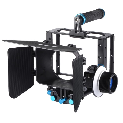 Aluminum Alloy DSLR Video Film Movie Making Kit with Camera Cage Top Handle Grip 15mm Rod Set Matte Box Follow Focus for DSLR Cameras Camcorders