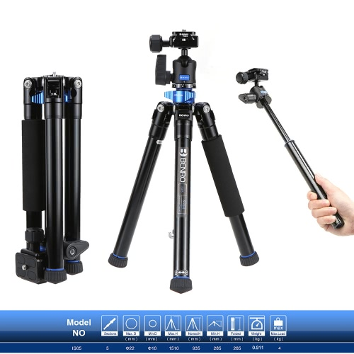 Benro IS05 Portable Light Aluminum Alloy Tripod Kit Center Column Can Turn to Selfie Stick for Smartphone Mirrorless Camera DSLR Camera