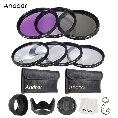 Close-up(+1+2+4+10) レンズ + FLD CPL Andoer 55 ミリメートルの UV フィルター キャリー ポーチ + レンズ キャップ、レンズ キャップ ホルダー キット + チューリップ & ゴム レンズフード + レンズのクリーニング クロス
