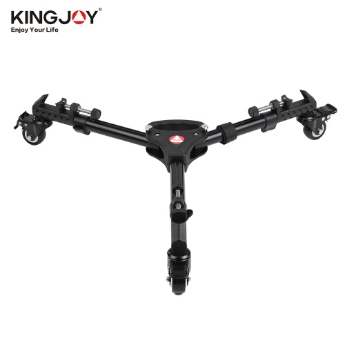 Kingjoy VX-600 Pro 3 Tripod Wheels Pulley Universal Folding Camera Tripod Dolly Base Stand w/ Nylon Carrying Bag Max. Load 20Kg