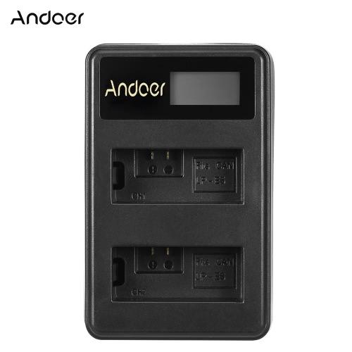 Andoer Mini Portable Dual Slot LCD Screen USB charger for Canon DSLR Li-ion Lithium Battery